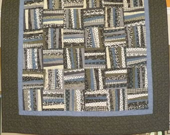 Blue and Gray Modern Patchwork Quilt - Twin Size