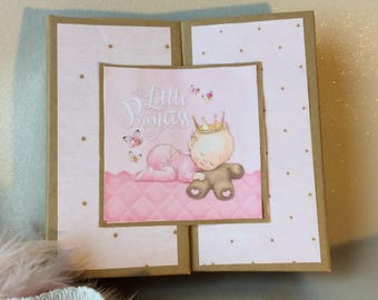 Album born Kraft and pink, Teddy, multipochettes, 24 pages, photo album, LITTLE album theme