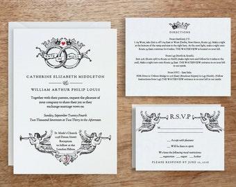 Printable Wedding Invitation Template | INSTANT DOWNLOAD | Vintage Wedding Rings | DIY | Editable Adobe pdf | Response and Info Card Set