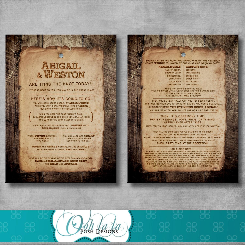 Rustic Wedding Program Fun Wording Customizable DIY
