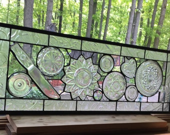 "Grandma's Kitchen glassware panel 31"" antique vintage stained glass"
