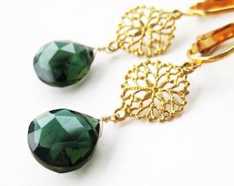 Forest Green Quartz Clip Earrings, Brass Filigree Clip On Earrings, Gold Ear Clips, Dark Emerald Green Faceted Teardrops, Handmade, Gail