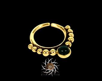 Dev Green Onyx Septum Ring - Septum Jewelry - Septum Piercing - Indian Septum Ring - Tribal Septum Ring - 16G Septum Ring (B20)
