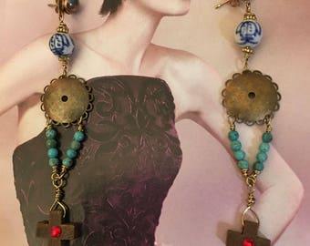 Vintage Rosary earrings, turquoise earrings, vintage, vintage jewelry, vintage earrings, dangle earrings, gift for her, valentine gift
