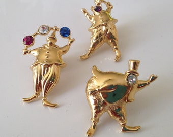 Vintage Monet Clown Jester Pins