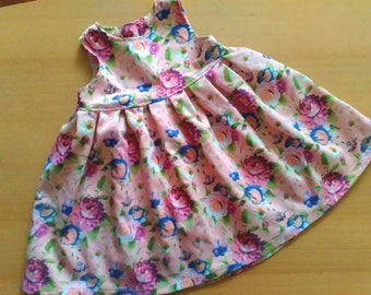 Girls cotton dress / Baby girl dress / Summer girls dress / Pink dress / Girl dress size 1 year / Baby girl clothing  Girl Floral Dress