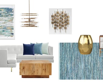 Modern Teal & Brass Design for Living Room