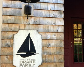 Sailboat House Sign Wooden Entryway Sign Nautical House Plaque Beach House Number Lake House Address Sign Beach House Address Number Sign