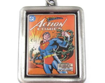 DC Comics Originals Silver Double Sided Metal Spinner Pendant-Superman (1 Piece)