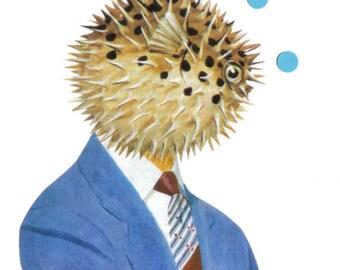 Original Collage, Puffer Fish Art, Funny Fish Face, Creepy Cute Creature Artwork
