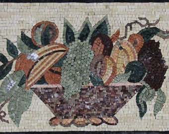 "Kitchen Miniature Fruit Bowl Wall Art 28""x20"" Marble Mosaic KB96"