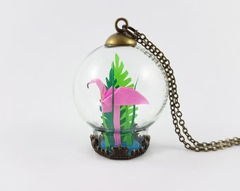 Flamingo Gifts,Origami Necklace,Terrarium Jewelry,Flamingo Necklace,First Anniversary Gift,Paper Anniversary,Flamingo Gift,Flamingo Jewelry