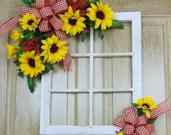 Country window decor, front door spring, summer door hanger, sunflower decoration