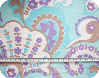 Floral retro vintage fabric - blue, purple and brown