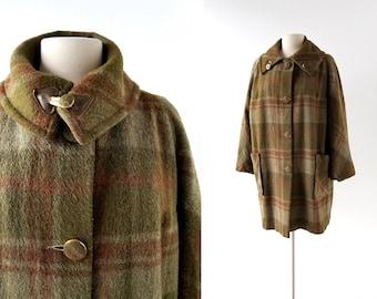 1960s Plaid Coat   Sapientia et Doctrina   60s Coat   L XL