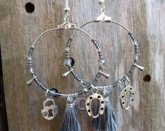 Hoop earrings silver and gray tassel, charms, seed beads