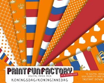 Dutch digital paper - Netherlands Kingsday / Queensday - 12 digital papers (#017) INSTANT DOWNLOAD