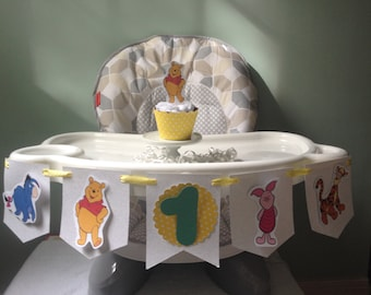 Winnie the Pooh, Piglet, Tigger, Eyeore 1st or 2nd Birthday Party Highchair Banner
