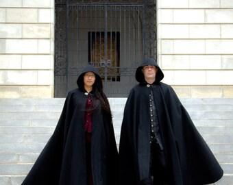 Wool Cloak - Half-Circle Cloak - Black Cloak  - Hooded Cloak - Cloak with Hood - Cloaks and Capes