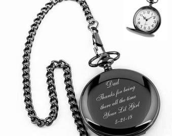 Engraved Pocket Watch, Personalized Gunmetal Pocket Watch Engraved Free, Groomsman Gifts, Wedding Favors, Best Man Gift, Free Engraving