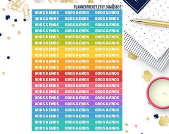"""60 """"Odds & Ends"""" Section Header Planner Stickers! SB351"""