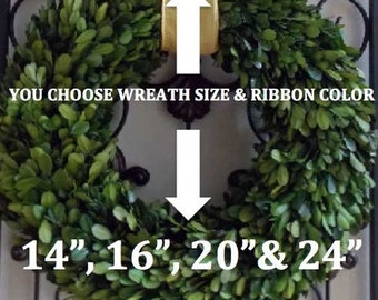"Boxwood Wreath-Spring Summer Boxwood Wreath-Preserved Boxwood Wreath-Farmhouse Wreath-CHOOSE Ribbon COLOR and SIZE 14"",16"",20"" or 24"""