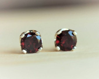 6mm Garnet Argentium Silver Earrings - Nickel Free Hypoallergenic Stud Earrings