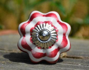 Striped cabinet knob/striped ceramic knob/white knob/burgundy knob/red cabinet knob/striped drawer pull/striped melon knob/melon knob