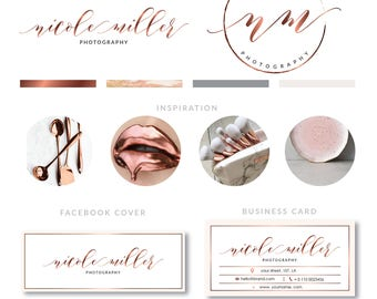 Rose Gold Branding Kit, Photography Logo, Premade calligraphy Logo Design, Boutique Logo, Watermark stamp, Business Logo, Calligraphy Logo