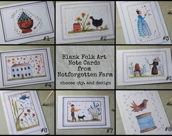 Blank Folk Art Note Card from Original Watercolors - Choose Design and Quantity - from Notforgotten Farm™