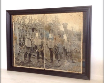 Aged reproduction Steampunk WW1 soldiers print in frame.