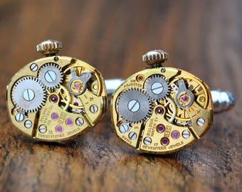 Bulova Gold Watch Movement Cufflinks - Steampunk Gold Vintage Wedding Groom Gift Mens Christmas Present