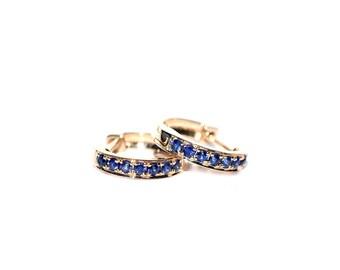 18K Yellow Gold Blue Sapphire Mini Hoop Earrings