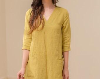 Linen - V Neck Linen Shift Dress, 3/4 Sleeve, Relaxed Fit, Pockets