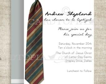 BAPTISM INVITATION LDS Tie Boy Baptism Priesthood Preview Invitation Picture Latter-Day Saint Mormon diy Printable Personalized - 196645408