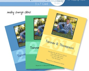 5x7 Graduation Announcement - Tanner - Photographer Templates