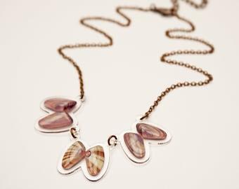 READY MADE SALE - Coquina Shell Necklace - Shell Necklace - Florida Seashell Beach Mermaid Jewelry - Purple