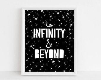 Printable Kids Wall Art // Printable Quote, Nursery Decor, To Infinity and Beyond, Kids Room Decor, Nursery Art, Scandinavian Print