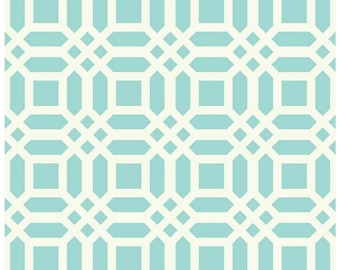 Vivid Lattice Aqua Duck Canvas by Riley Blake