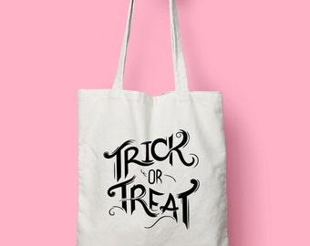 Trick Or Treat Halloween tote bag - screen printed canvas tote shopping bag - shoulder bag - canvas tote bag - Halloween Costume Market Bag