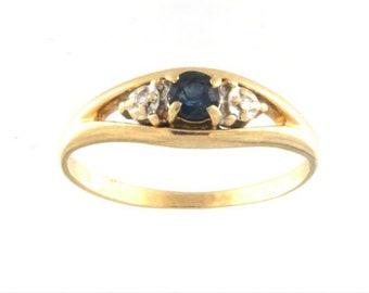 14k Yellow Gold Blue Sappire and Diamond Ring