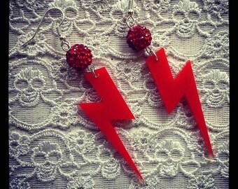 Red 'ZIGGY' Ligethening Bolt dangle earrings / Disco / 70's / Kitsch / Retro