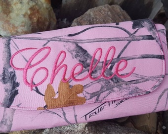 Personalized Camo Wallet, Camo Billfold, Camo Ladies Wallet, Pink Camo, Camo Wallet with name, Monogrammed Wallet, Pink Camo Wallet