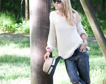 Backless  Sweater - Loose Sweater - Cotton Off the Shoulder Sweater -  Boho Sweater - Woman Off Shoulder Sweater - ROY Sweater
