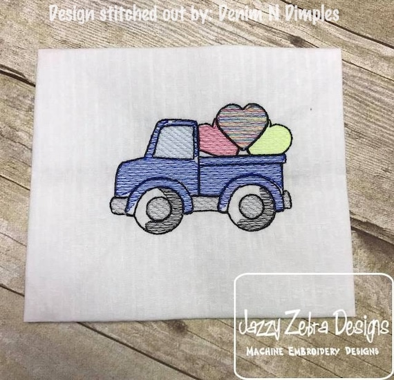 Truck with hearts Sketch Embroidery Design - Valentines day Sketch Embroidery Design - Valentine Sketch Embroidery Design