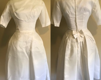 1950s Wedding Dress, Vintage White Satin Wedding Dress with Matching Veil, Tea Length White Dress with Sleees and Built in Crinoline on SALE
