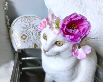 Cat Flower Crown| Cat Clothes, Handmade Flower Crown, Cat Apparel, Pink Flowers