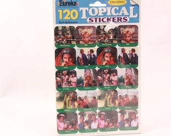 Vintage Eureka World Stickers. 120 Self Adhesive Stickers in Sealed Package