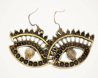 Cleopatra Earrings, Primitive Style Eye Earrings, Bibijoux, Goddess Jewelry, Drama Queen, Statement Earrings, Rustic Jewelry, Eye Earrings