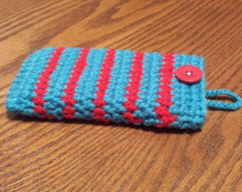 IPhone Crochet Case, Cell Sleeve with Stripes, Mobile Slip Cover, Phone Sock, Cellular Purse, Protective bag, Regular Standard or Plus Size